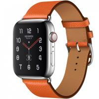 Apple Watch Hermes Series 5, 44mm Stainless Steel Case with Feu Epsom Leather Single Tour