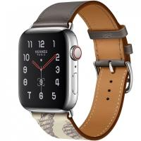 Apple Watch Hermes Series 5, 44mm Stainless Steel Case with Etain Beton Swift Leather Single Tour