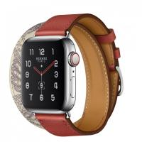 Apple Watch Hermes Series 5, 40mm Stainless Steel Case with Brique Beton Swift Leather Double Tour