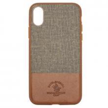 Чехол для iPhone X Santa Barbara Virtuoso силикон+кожа (Коричневый)